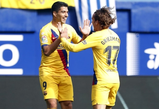 Eibar 0 -3 Barcelona: Griezmann, Messi and Suarez ensure frantic week ends in comfortable win