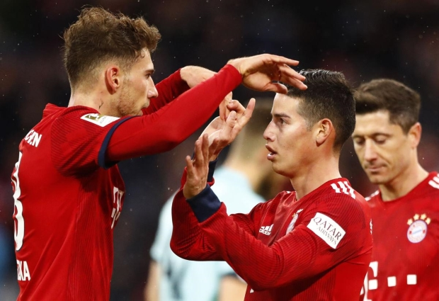 Bayern Munich 6 -0 Mainz: James hat-trick sends champions back to summit after Liverpool loss