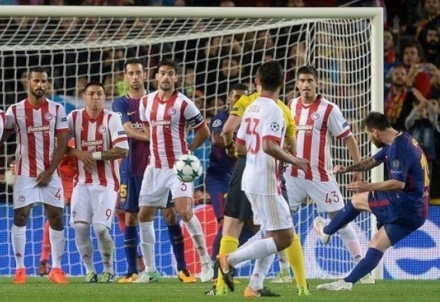Barcelona 3 -1 Olympiakos: Catalans dominate with 10 men as Lionel Messi hits ton