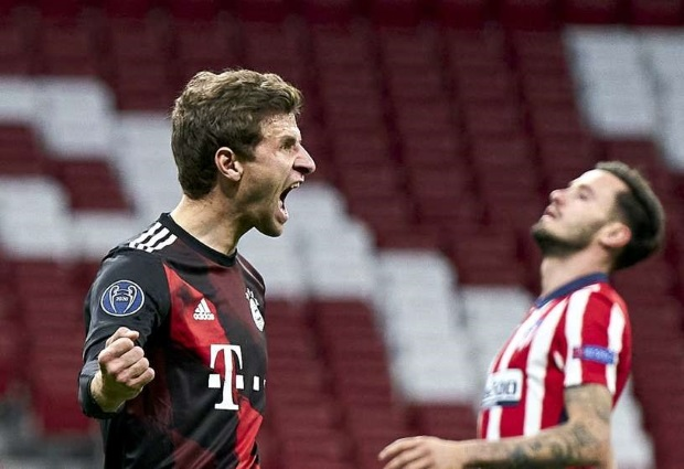Atletico Madrid 1-1 Bayern Munich: Late Muller penalty delays progress for Simeone's side