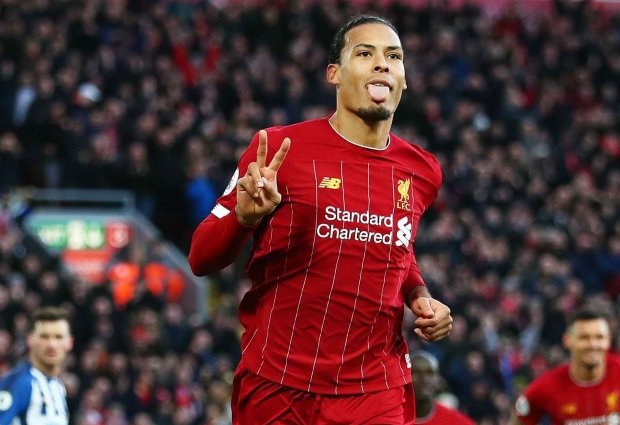 Liverpool 2 -1 Brighton and Hove Albion: Van Dijk at the double but Alisson sent off as Reds equal record