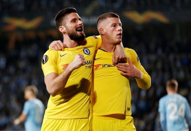Malmo 1 -2 Chelsea: Barkley and Giroud earn first leg lead