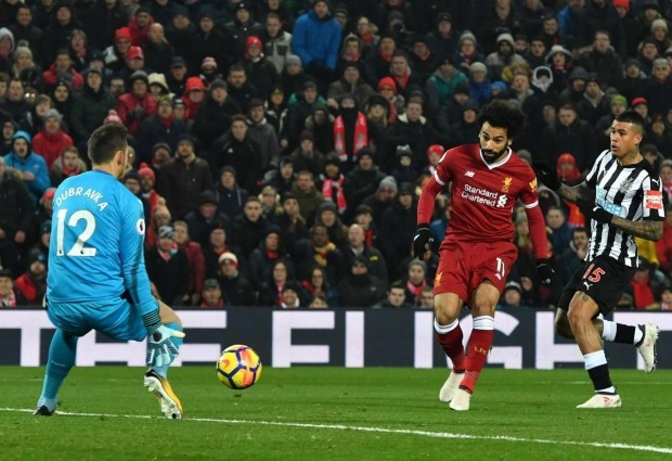 Liverpool 2 -0 Newcastle United: Salah scores again to send Reds second