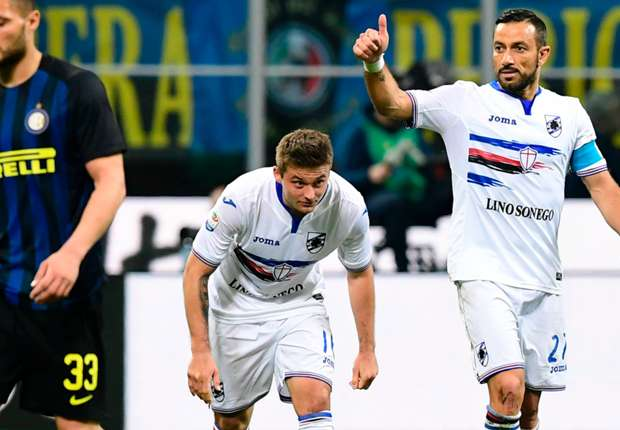 Inter 1 -2 Sampdoria: Late Fabio Quagliarella penalty leaves hosts' Champions League chase in tatters